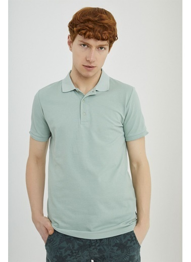Z Giyim Pamuklu Düğmeli Polo Yaka T-shirt Yeşil